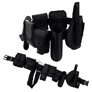 Seguridad Cinturón Táctico de Utilidad,Ajustable Nylon Militar Cinturón Conveniente para la Policía, Hombres,Entrenamiento al Aire Libre(Negro)