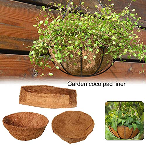 Hanging Flower Basket with Natural Coconut Liner 16/14/12/7 inches Foldable Coco Fiber Replacement Liner Basket Keep The Moisture in The Basket Thick Coco Liner Hanging Planter Garden Decoration