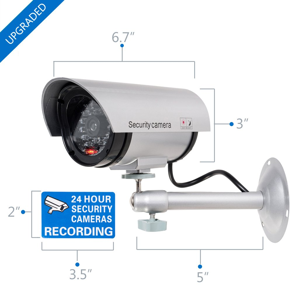 WALI Bullet Dummy Fake Surveillance Security CCTV Dome Camera Indoor Outdoor with one LED Light + Warning Security Alert Sticker Decals (TC-S2), 2 Packs, Silver by WALI (Image #2)