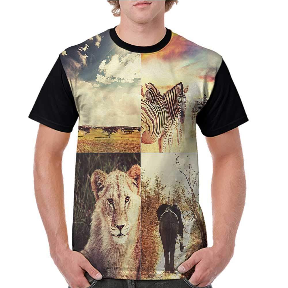 Shirts,Safari,Tiger on Wood Wildlife S-XXL Print Short Sleeve Baseball Ladies Tee