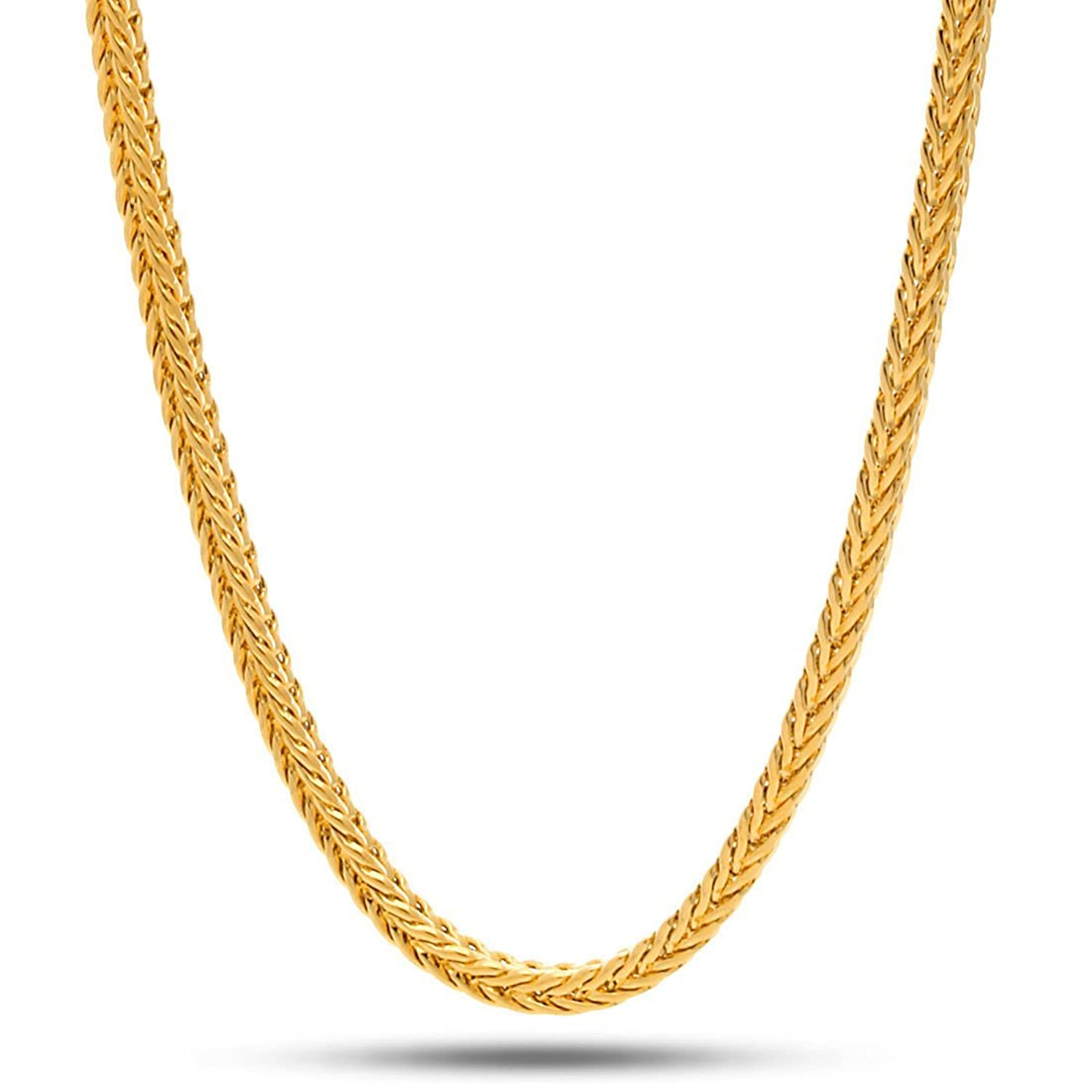gold yellow pin chain necklace gram chains gift box karat filled