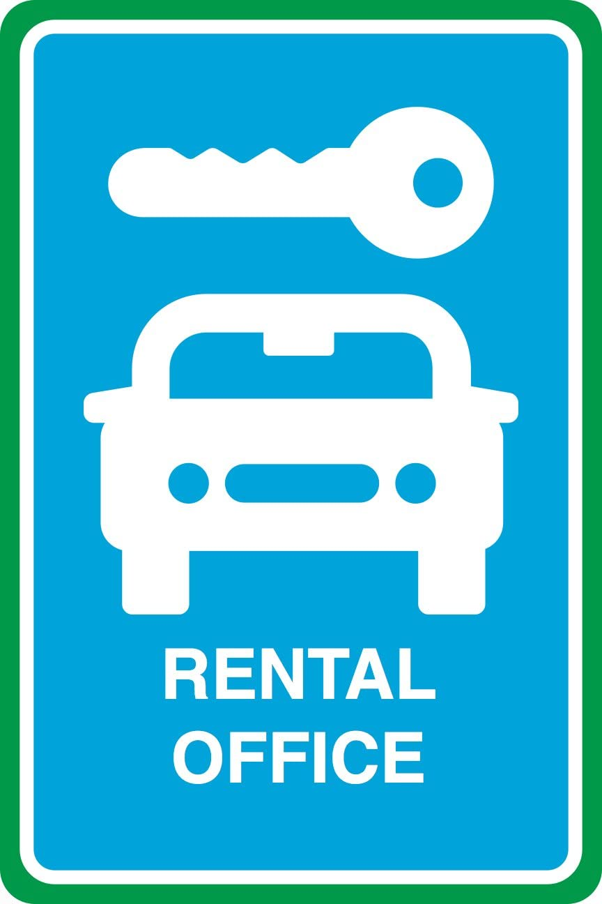 Rental Office Print Car Key Picture Blue Large Business Office Window Sign - 6 Pack, 12x18