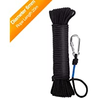 WuKong Fishing Magnet Rope 20 Meters, Heavy Rope with Safety Lock,Diameter 6mm/8mm Safe and Durable