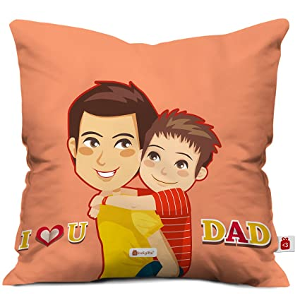 Indigifts Dad Son Love Orange Cushion Cover 12x12 Inch With Filler