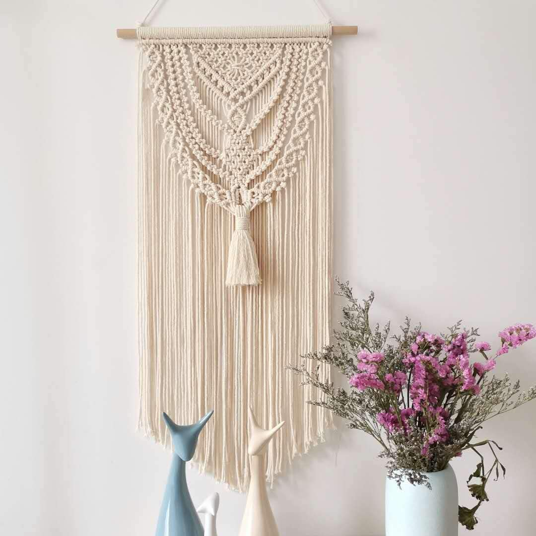 Fashionstorm Macrame Wall Hanging Tapestry Boho Macrame Tapestry Woven Home Decor Wall Pediment