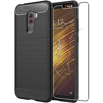ebestStar - Funda Xiaomi Pocophone F1 Carcasa Silicona Gel, Protección Diseño Fibra Carbono Premium Ultra Slim Case, Negro + Cristal Templado [NB: ...