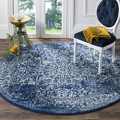 Safavieh Evoke Collection EVK256A Vintage Oriental Navy and Ivory Round Area Rug (6'7