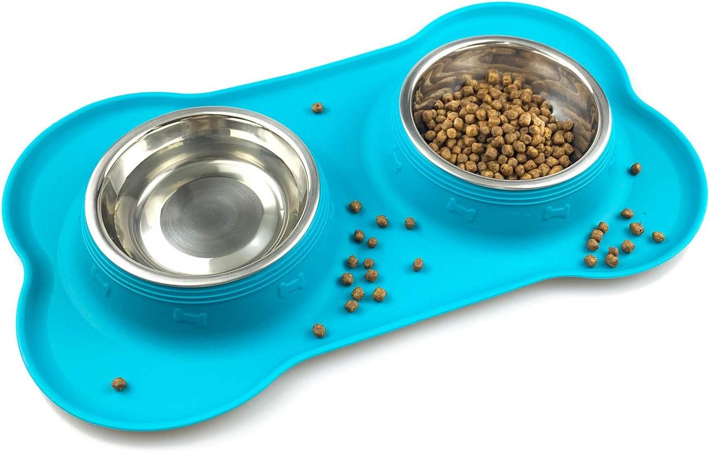 Comedero para Perros y Gato Acero Inoxidable 2x200ML,2 Cuencos Comedero para Mascotas con Base de Silicona Antideslizante(verde)