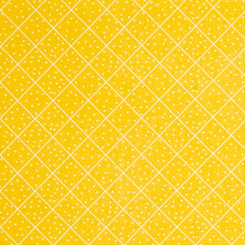 QT Fabrics The Quilted Cottage Dotted Diamond Check Yellow (Pre-quilted Fabric By The Yard)