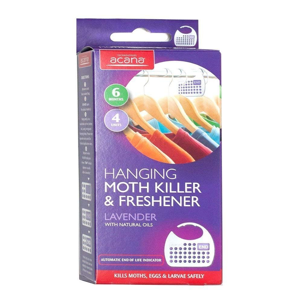 3x Acana 2675-1 Hanging Moth Killer and Lavender Freshener Pack of 4 White