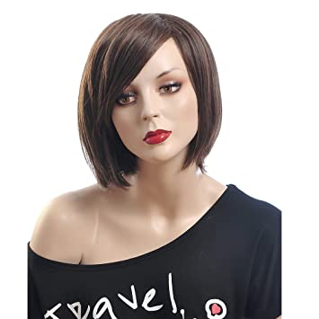 Amazon.com   Chinese Bob Wigs for Women Heat Resistant Wigs Short Wigs with  Bangs Real Looking Hair Hot Hair Wigs 0022   Beauty 3011159f0a