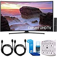 Samsung UN65MU6500 Curved 65 4K Ultra HD Smart LED TV (2017 Model) w/ Accessories Bundle Includes, SurgePro 6-Outlet Surge Adapter w/ Night Light, 2x 6ft. HDMI Cable & Screen Cleaner For LED TVs