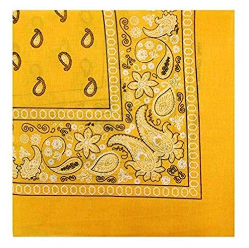 Kewl Fashion One Dozen Cotton Cowboy Bandanas Head Wrap (One size, Gold Yellow) -