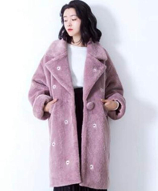 ZEARO Otoño Invierno Moda Mujeres Casual Abrigos Larga de lana de Imitación Rosado Básico: Amazon.es: Ropa y accesorios