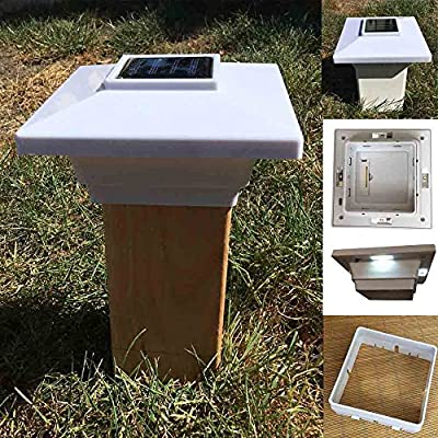 """(12 Pack) Solar Post Cap Low Profile 4 SMD LED Off 4""""X4"""" PVC Fence Post With Adapter for 3.5"""" x 3.5"""" Wood Post"""