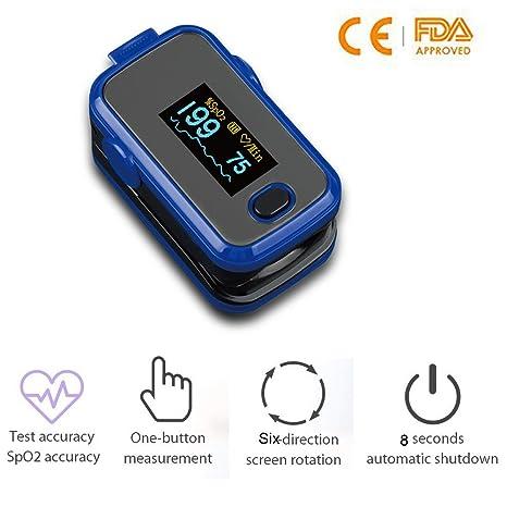 Lunasea Fingertip - Oxímetro de pulso SpO2 con función de apagado automático para viajes o uso