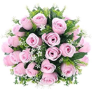 Amazon silk rose bouquet pink 18 heads soledi artificial fake silk rose bouquet pink 18 heads soledi artificial fake flower bunch bridal bouquet wedding living room mightylinksfo