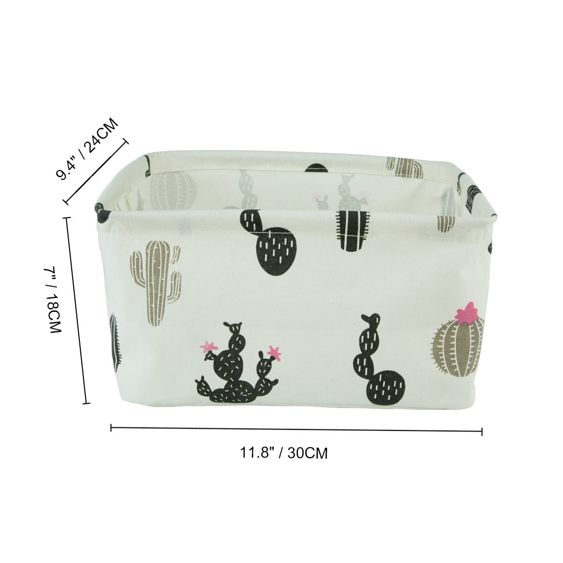 Collapsible and Convenient for Nursery and Babies Room Black Cactus Homiak Canvas Fabric Foldable Organizer Storage Basket with Handle