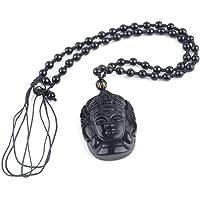 Togames-ES Hombres Mujeres Vintage Color Negro Guanyin Piedra Natural Obsidiana Tallada Kwan-Yin Cabeza Colgante Joyería Afortunada para el Regalo
