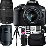 Canon EOS 1500D/Rebel T7 w/18-55mm Lens, 75-300mm Lens, 55-250mm Lens and 8pc Accessory Bundle – Includes 16GB SD Memory Card + Replacement Battery + MORE - International Version (No Warranty)