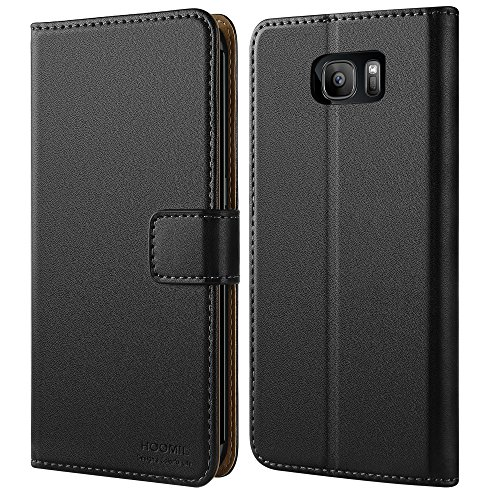 HOOMIL Case Compatible with Samsung Galaxy S7 Edge, Premium Leather Flip Wallet Phone Case for Samsung Galaxy S7 Edge Cover (Black)