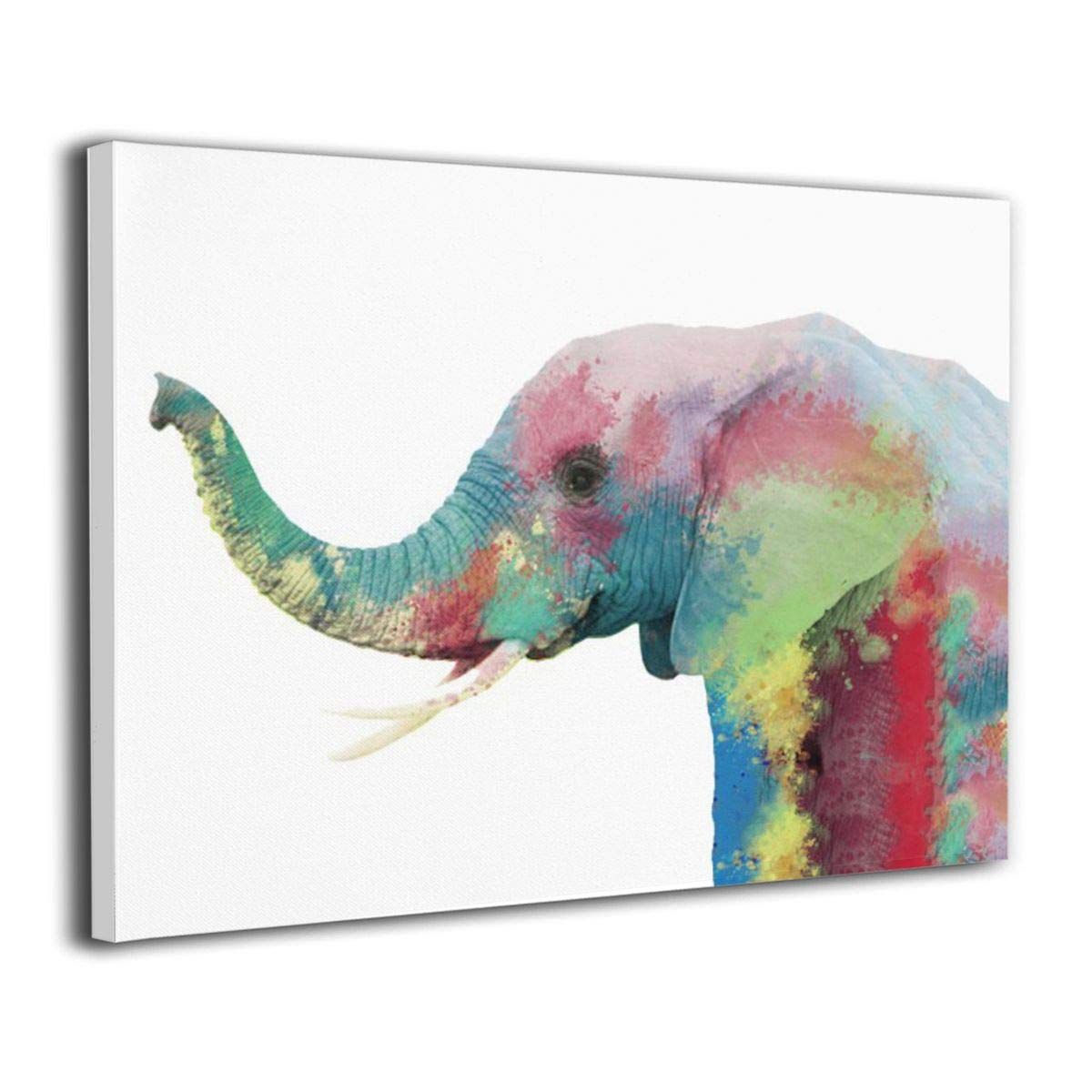 Art-logo Watercolor Elephant African Animal Wildlife Canvas Wall Art Modern Home Decor Poster Prints 16''x20''
