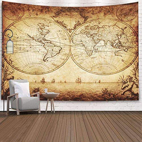 Douecish Tapestry Wall Hanging, Decoration Vintage Map The World for Bedroom Living Room Decor Wall Hanging Tapestry 80X60 Inches,Peach Green