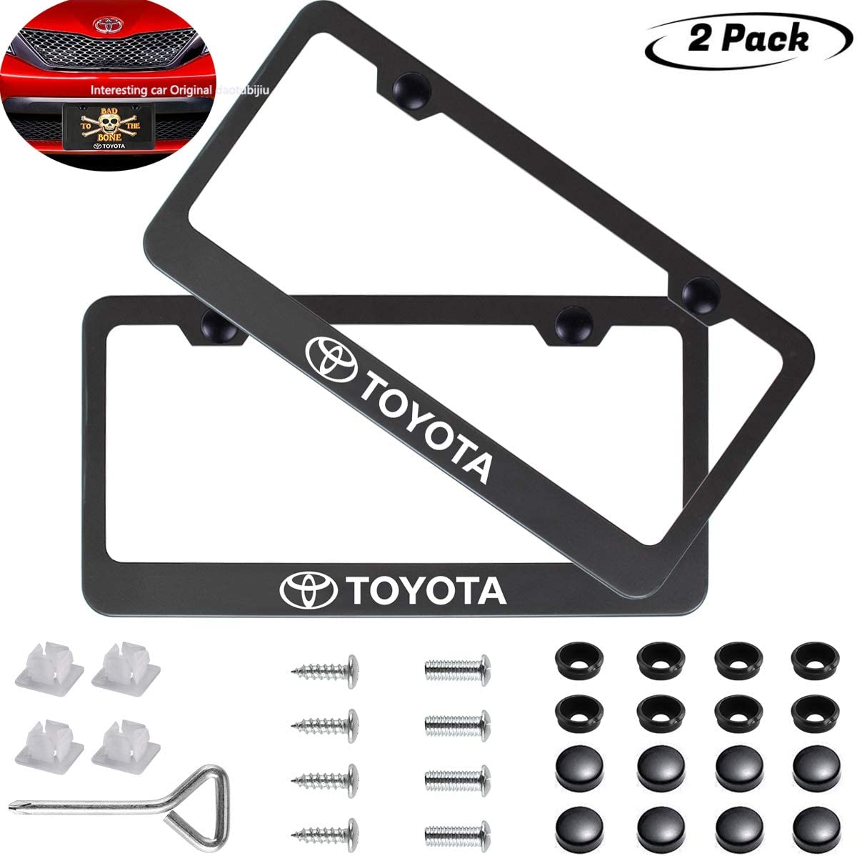 2pcs for TOYOTA front and Rear License Plate Frame,Newest Matte Aluminum Alloy License Plate for TOYOTA All Models,Personalize and Decorate for TOYOTA License Plate Cover,Screw Caps Included /…