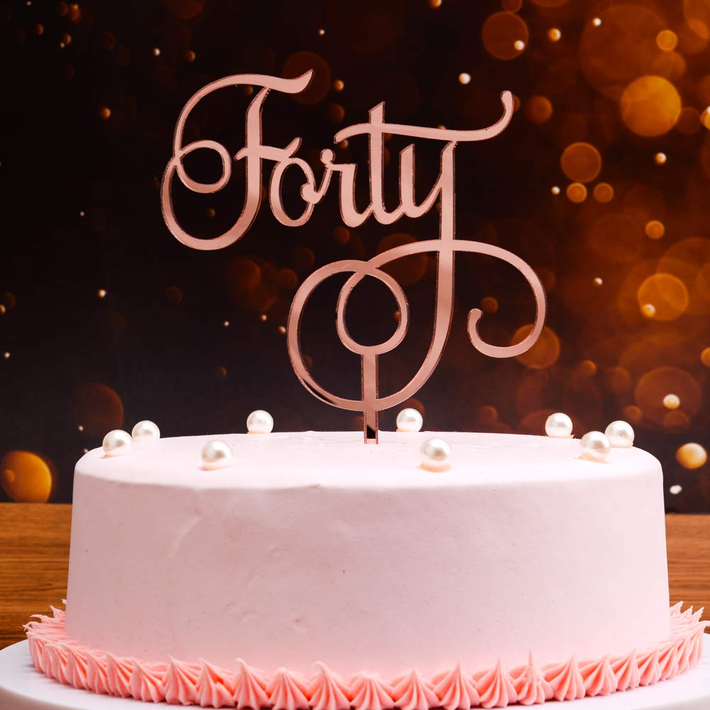 Astonishing Rose Gold 40Th Birthday Cake Topper 40Th Birthday Gift For Women Funny Birthday Cards Online Fluifree Goldxyz