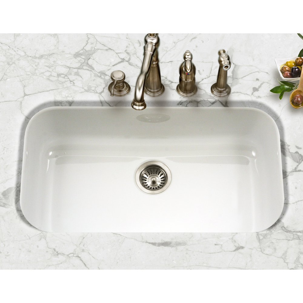 Houzer PCG 3600 WH Porcela Series Porcelain Enamel Steel Undermount Single  Bowl Kitchen Sink, Large, White     Amazon.com