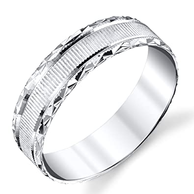 925 sterling silver mens wedding band laser grooved with anti tarnish rhodium comfort
