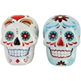 1 X Day of Dead Sugar White & Blue Skulls Salt & Pepper Shakers Set- Skulls Collection by Pacific Giftware