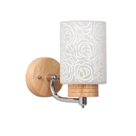 Wall Light E27 Wood Wall Lamp Modern Wall Sconce Bedroom ...