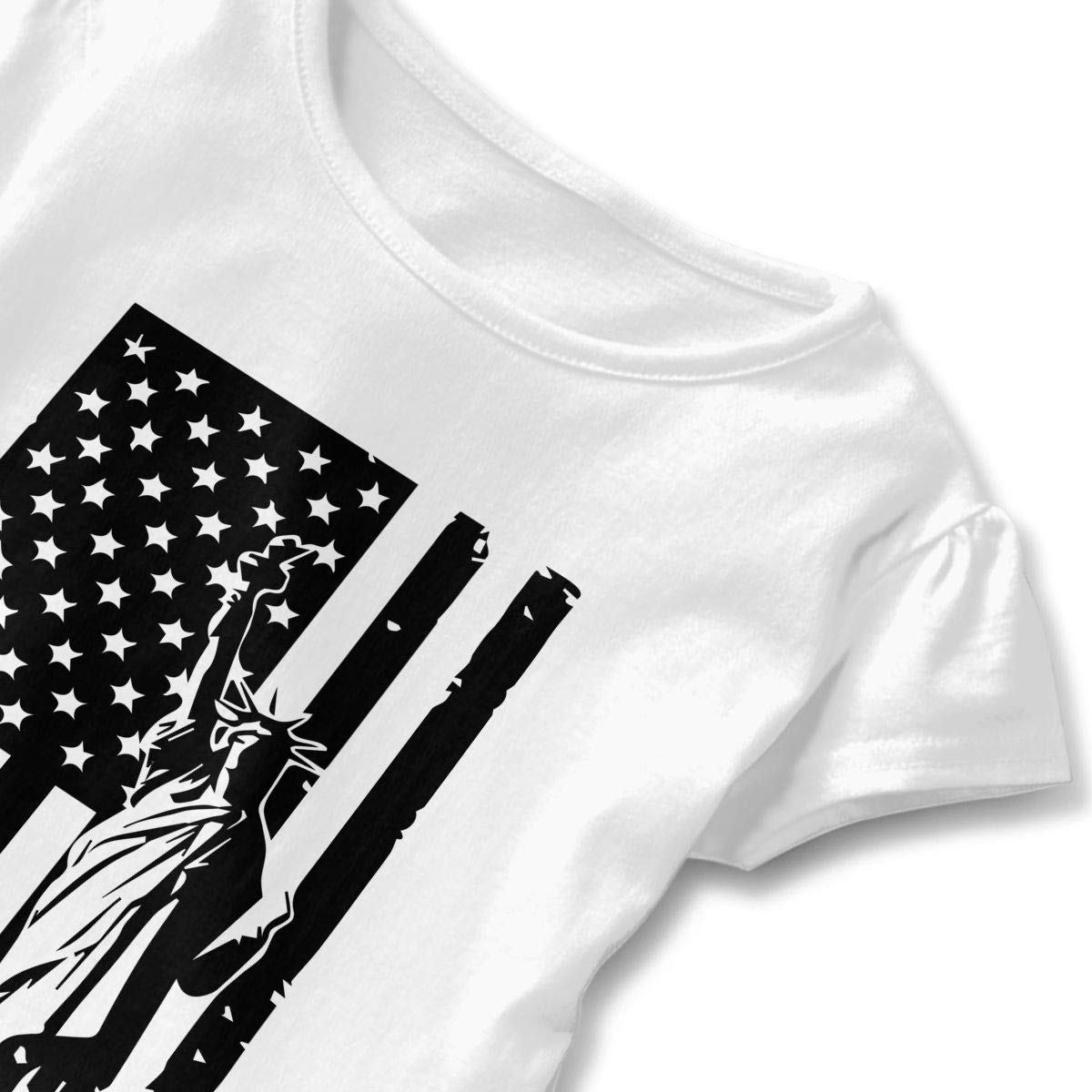 USA Flag Statue of Liberty T-Shirts Toddler//Infant Girls Short Sleeve Ruffles Shirt Tee for 2-6T