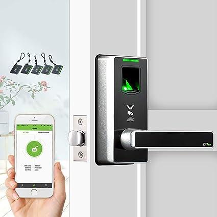 Keyless Door Locks with Bluetooth/Biometric Fingerprint Door Lock  Electronic Smart Locks for Home by ZKTeco + 5pcs of RFID Cards (Zinc Alloy)