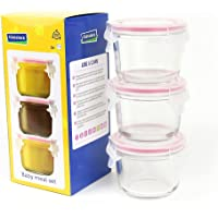 Glasslock MCCB016 Baby Food Round Container, 3-Piece Set, Clear, GL-545