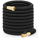 Growfast Garden Hose , 100FT Expandable Lightweight and Durable Water Hose with 3/4 Nozzle Solid Brass Connector Flexible Stretch Hosepipe for Heavy Duty Commercial Use and Watering, Washing