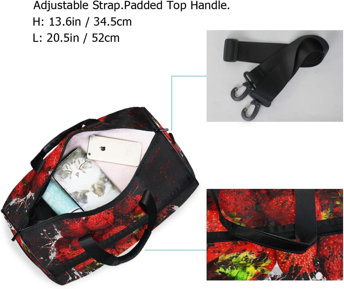 MALPLENA Art Painting Strawberry Packable Duffle Bag For Men Women Tear Resistant Sports Duffle