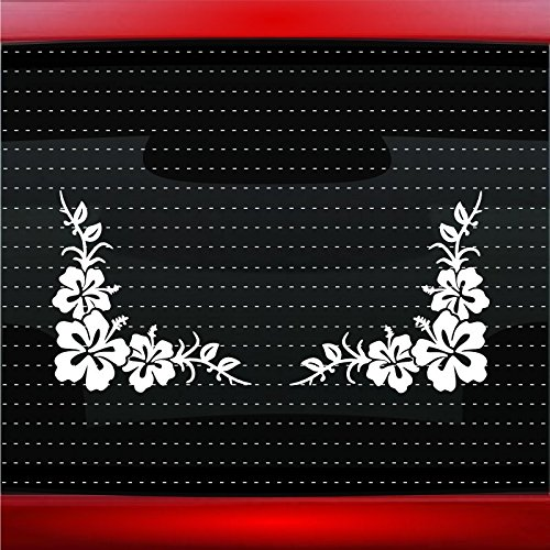 Noizy Graphics Hibiscus #14 Corner Pair Cute Hawaiian Car Sticker Truck Window Vinyl Decal Color: Orange