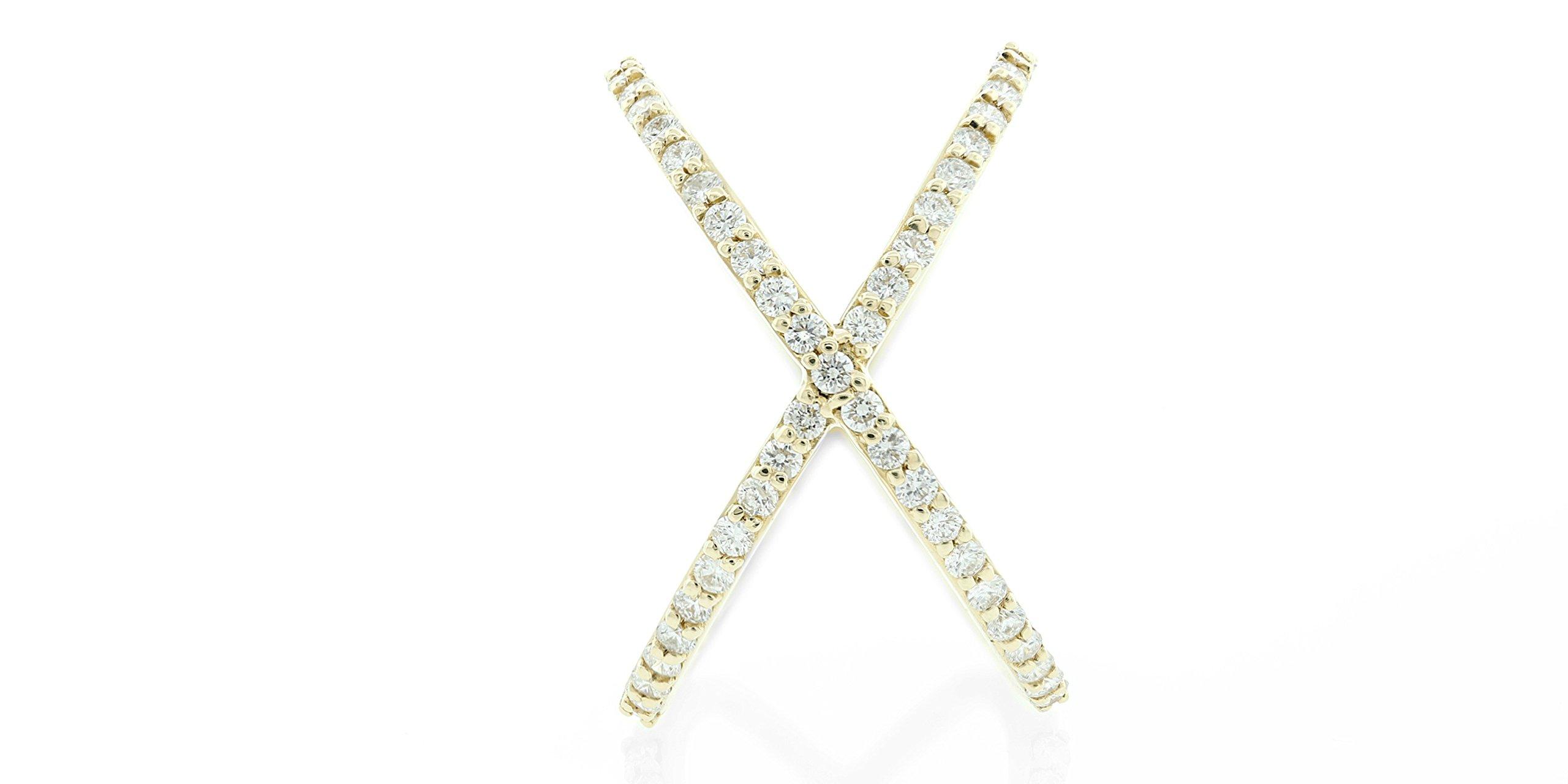 London Fine Jewelry Round Diamond Criss-Cross Orbit Ring in 14k Yellow Gold