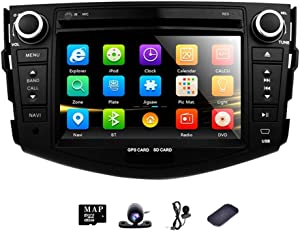 GPS Car Radio DVD in Dash Stereo Navigation for Toyota Rav4 2006 2007 2008 2009 2010 2011 2012 7 Inch Touch Screen Head Unit with Backup Camera Steering Wheel Control BT AM FM SD USB AUX Input