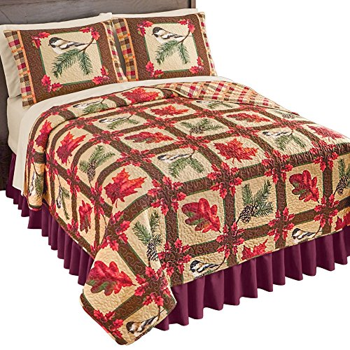 Collections Etc Reversible Fall Foliage & Birds Patchwork Quilt - add individual sizes after, - Autumn Leaves Quilt