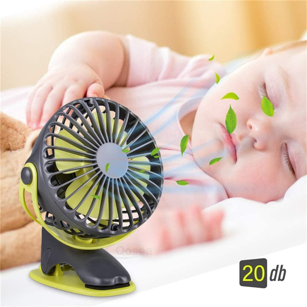MAMASAM Portable Mini USB Fan Quiet 4 Speed Adjustable 360 Degree Rotating Rechargeable Desktop Fan Baby Fan