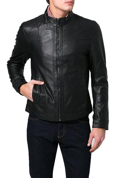 Trendtales Chaqueta de Cuero para Hombre, Piel de Vaca, Negro TTKL623 XS: Amazon.es: Ropa y accesorios