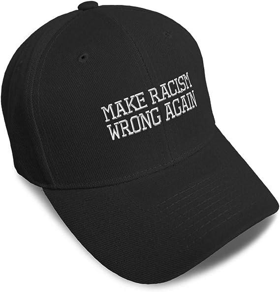 Speedy Pros Custom Baseball Cap Make Racism Wrong Again Silver Embroidery Strap Closure