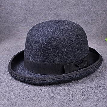 Amazon.com   Mxoza - fashion Men Wool Jazz Hat Dome Floppy Brim Fedora Hat  Black Grey Vintage Dress Casual Male Winter Warm Bowler Hat Cap   Navy Blue      ... 9505ae8fcc8
