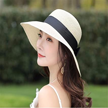 79664c4d322 RangYR Women Hat Summer Fall Straw Hat Wide-Brimmed Hat Beach Sun Hat Bow  Outdoor