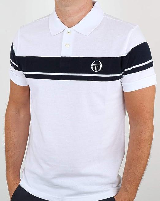 Sergio Tacchini Young Line Polo Shirt White/Navy XL: Amazon.es ...