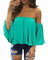 Internet Women Summer Chiffon T Shirt Tops Off Shoulder Casual Blouse
