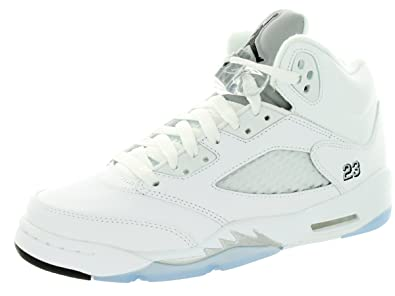 f1858fc37f623 Jordan Nike Boys Air 5 Retro BG Metallic Silver White/Black-Metallic Silver  Leather Size 6Y Basketball